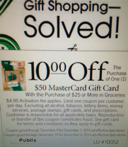 Can You Get Cashback With A Publix Gift Card - 10 off mastercard gift card at publix points miles martinis