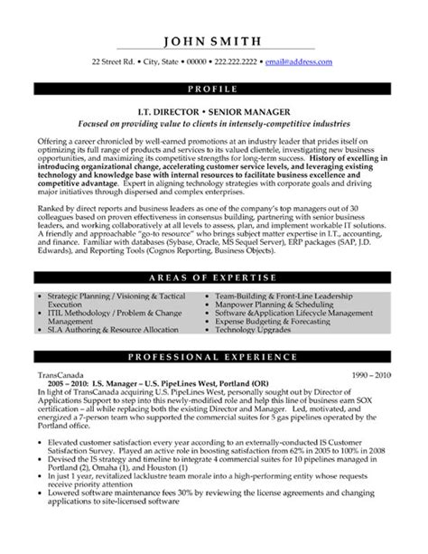 Resume Template Executive Management It Director Or Senior Manager Resume Template Premium Resume Sles Exle