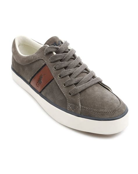 polo ralph bolingbrook grey suede sneakers in gray