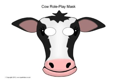 printable mask cow cow role play masks sb9253 sparklebox