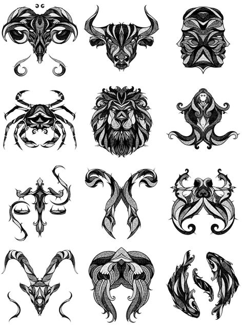 horoscope tattoo designs illustrations of zodiac signs by andreas preis