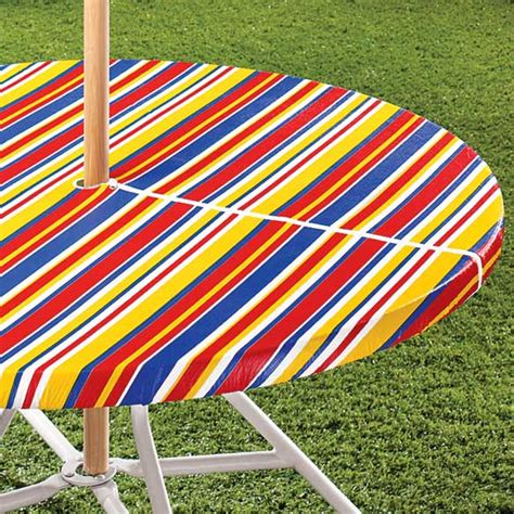 Patio Tablecloth With Umbrella by Striped Umbrella Table Cover Outdoor Table Cloth