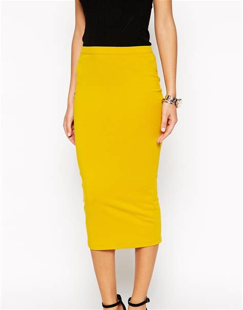 asos midi pencil skirt in jersey in yellow lyst