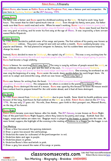 exle of biography text text marking a biography model text classroom secrets