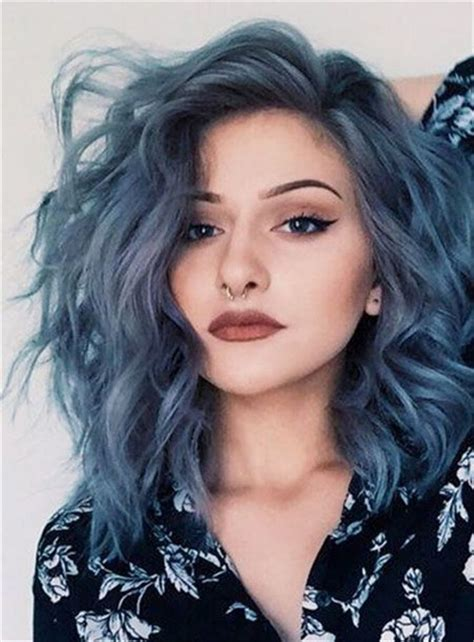 bright hair color for curly hair mid length loose wavy side swept fringes synthetic lace