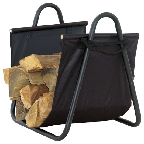 black log holder withheavy canvas carrier traditional