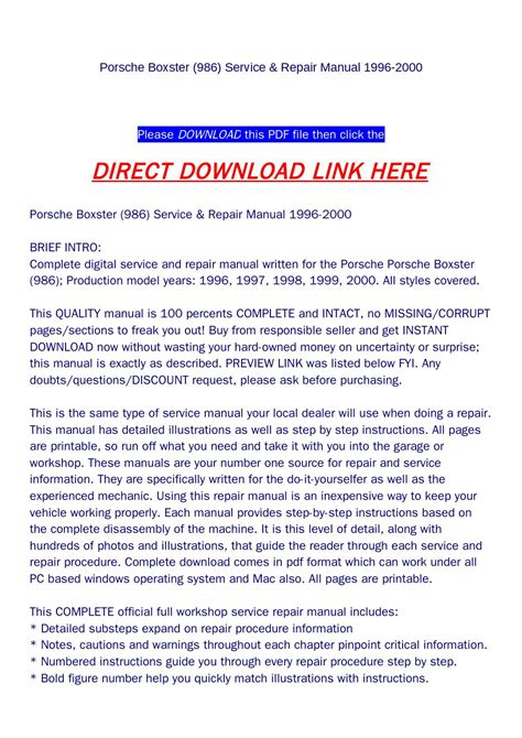 how to download repair manuals 1998 porsche boxster regenerative braking porsche boxster 986 service repair manual 1996 2000 by backoiiew2 issuu