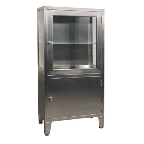 Steel Armoire Cabinets Vintage Stainless Steel Lighted Industrial Or
