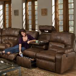franklin living room dakota reclining sofa with table