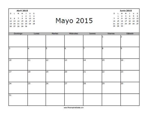 Calendario Mayo 2015 Calendario Mayo 2015 En Blanco Para Imprimir Gratis