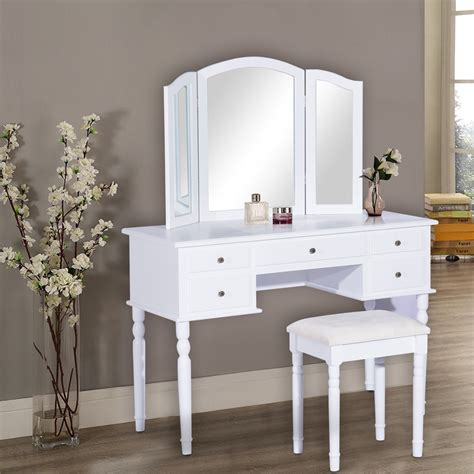 White Vanity Table Homcom Dressing Table Vanity With Mirror Stool 5 Drawers White Aosom Ca