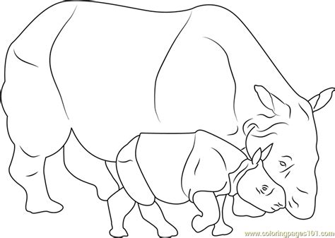 baby rhino coloring page baby rhino with her mother coloring page free rhinoceros