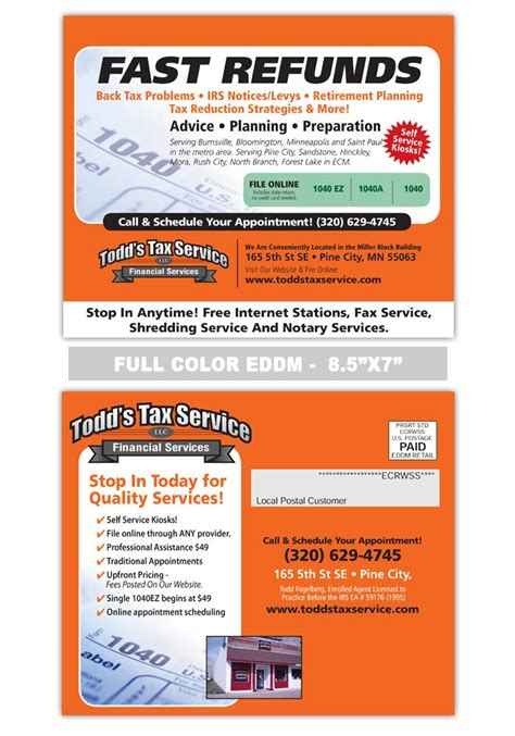 7 Best Accounting And Tax Preparation Postcard Sles Images On Pinterest Accounting Tax Preparation Postcards Templates