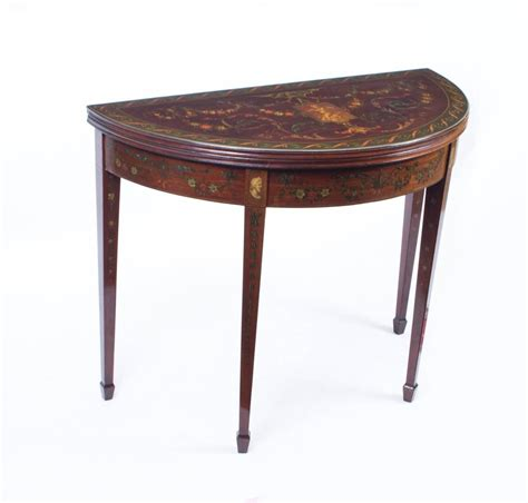 antique half moon card console table circa 1870 for sale