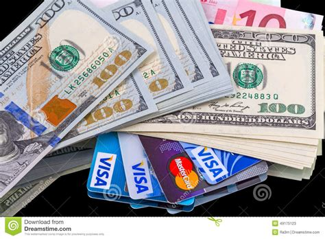Gift Card Cash - credit cards and cash editorial stock photo image of paying 49175123