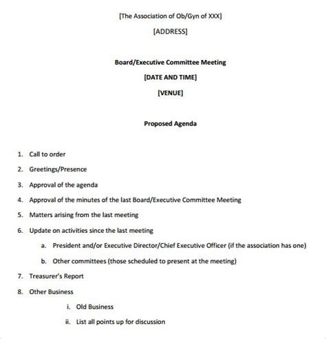 meeting agenda exles templates sle agenda template 41 free documents in
