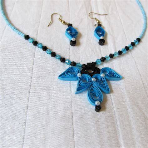 Quilling Paper Jewellery - black blue quilled jewelry novel ideas shopping