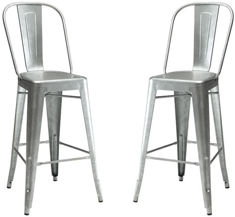 Galvanised Bar Stools by Galvanized Metal Bar Stool Set Of 2 From Coaster Coleman Furniture