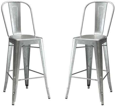 galvanized metal bar stool set of 2 from coaster coleman