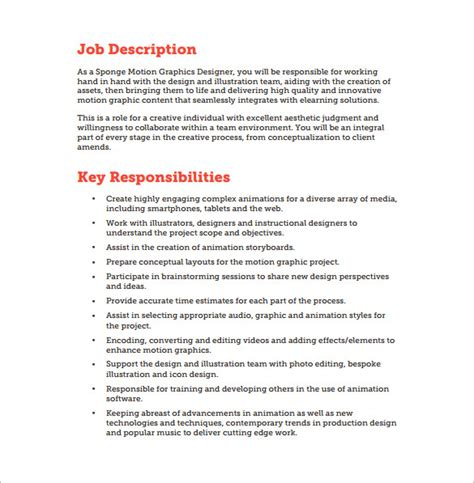 job description layout exles 10 graphic designer job description templates free