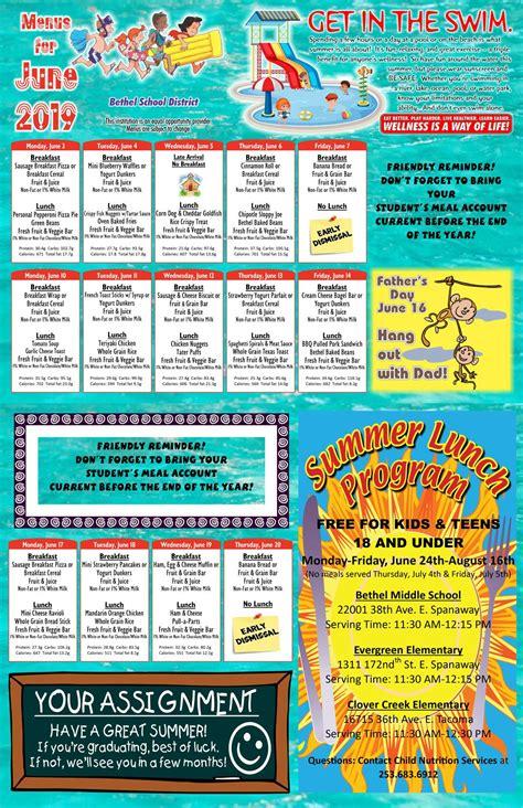 child nutrition menu information