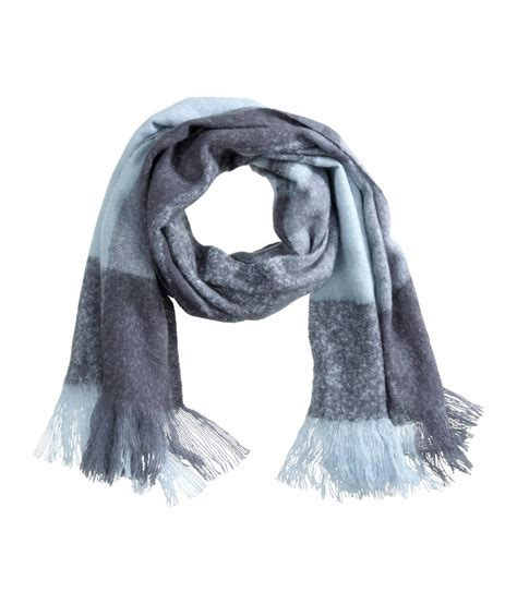 h m checked scarf in blue lyst