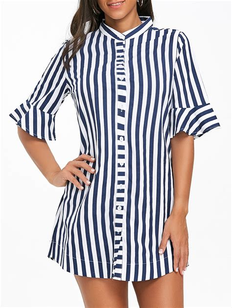 Sleeve Striped Tunic 2018 stripe flare sleeve tunic shirt blue stripe s in