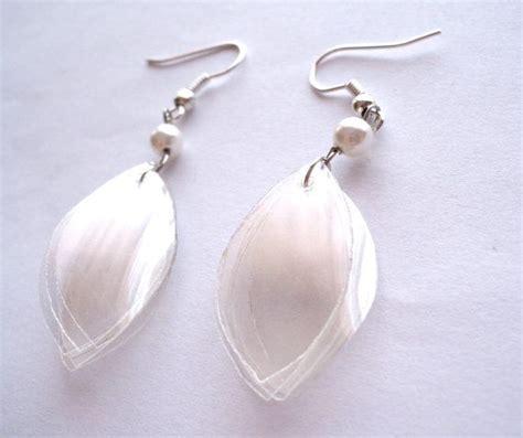 plastic bottle jewelry recycled plastic bottle pearltone earrings clear by