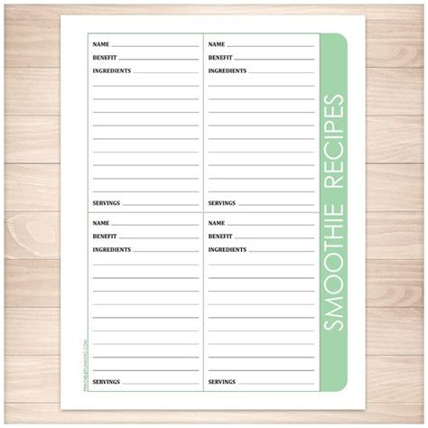 printable recipes for smoothies smoothie recipe pages 4 per page green printable the