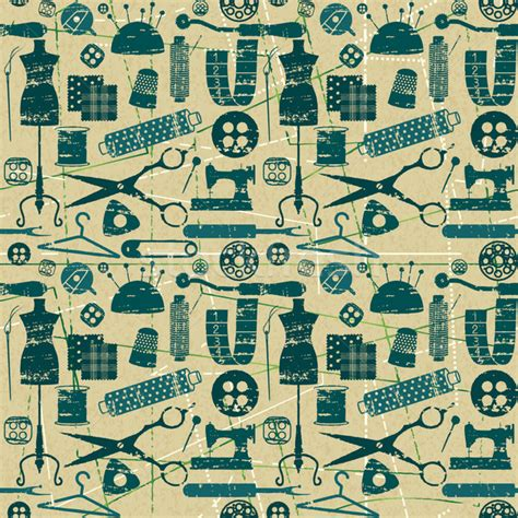 sewing pattern wallpaper green and blue seamless pattern with scratched sewing and