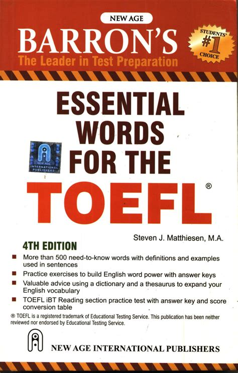 Essential Words For The Toefl 6th Ed essential words for the toefl 4th edition buy essential words for the toefl 4th edition by
