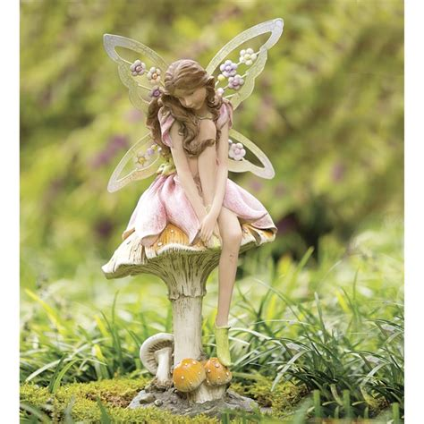 Flower Fairy On Mushroom Garden Statue In Garden Statues Flower Garden Statues