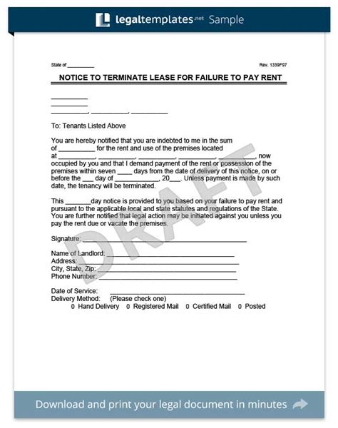 eviction templates rent termination notice letter sle cover letter lease