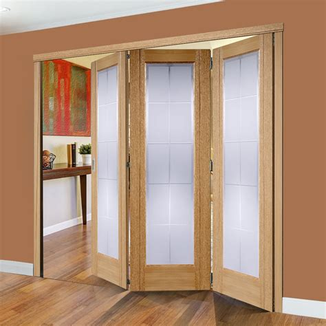 Seville Oak 3 Folding Doors With Frosted Glass 2078mm High Bifold Doors With Glass