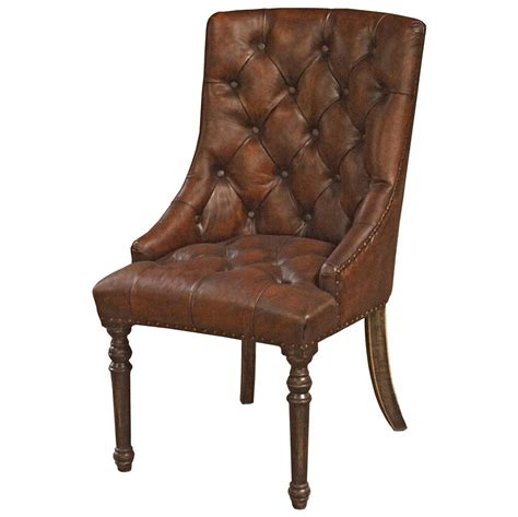 rustic leather dining chair boyce rustic lodge tufted vintage brown leather wood