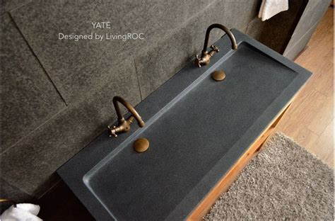 1200mm Double trough grey Granite Stone bathroom Basin   YATÉ