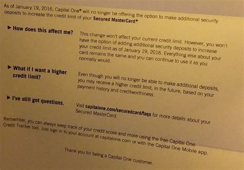Capital One Credit Increase Letter Capital One Secured Cards Can No Longer Funds Added To Increase Credit Limit Doctor Of Credit
