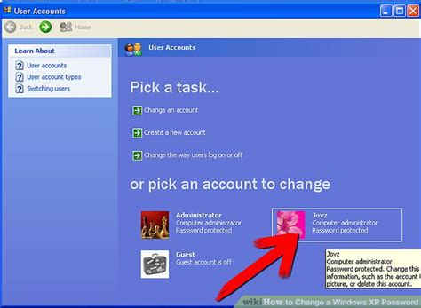 reset password for xp mode how to change a windows xp password 6 steps with pictures