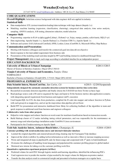 Resume Sle For Data Scientist Wenzhe Xu Resume For Data Science