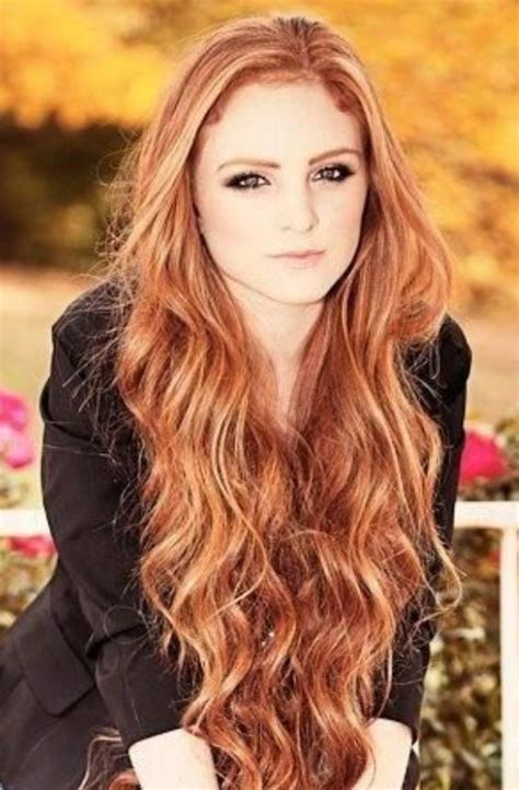 redheaded long hairstyle with semi spiral curls gorgeous loose wavy red hair hair red pinterest