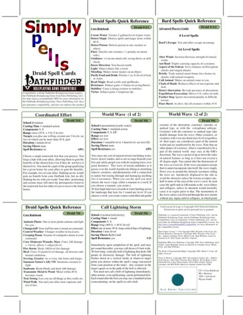 pathfinder spell card template paizo simply spells druid spell cards pfrpg pdf