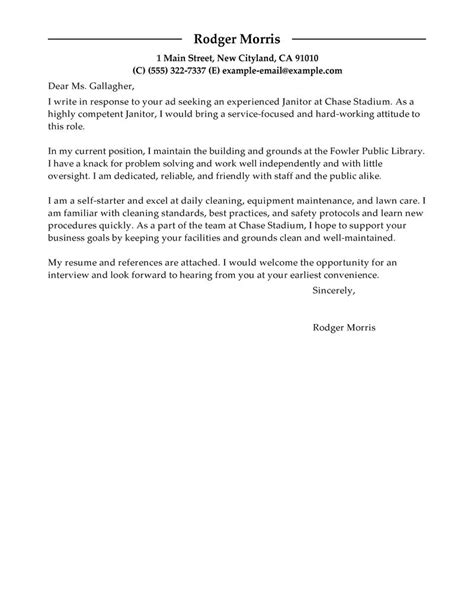 Janitorial Cover Letter Best Maintenance Janitorial Cover Letter Exles Livecareer