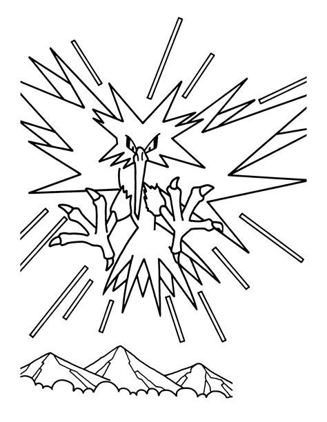 pokemon zapdos coloring pages legendary pokemon zapdos coloring pages coloring pages