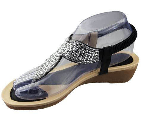 soft shoes for womens low wedge toe post sandals diamante summer