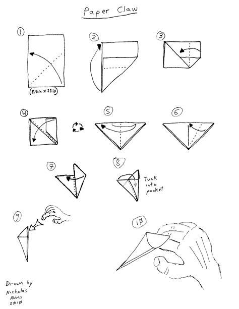 How To Make A Paper Claw Finger - a crisp fold schoolyard origami part 2