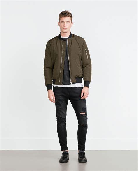 Zarra Bomber Jacket Kualitas Premium zara bomber jacket in for lyst