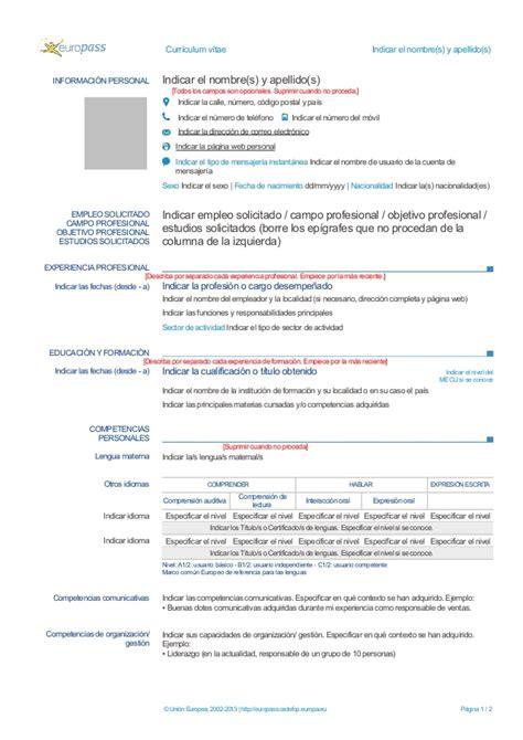Plantilla Curriculum Europeo Doc Plantilla Cv Europeo