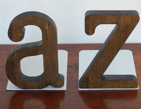 Handmade Wooden Letters - handmade letter bookends modern wooden and metal letter