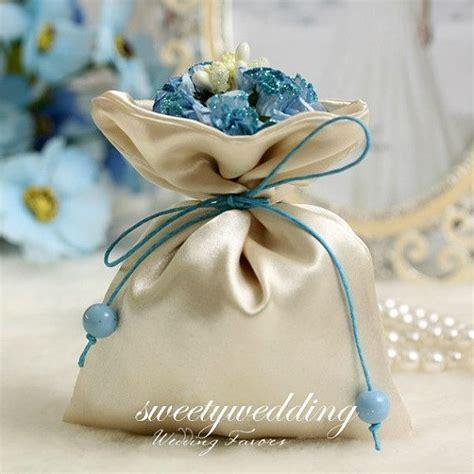 Handmade Favours - 50pcs handmade fabric wedding favor bags with blue flower