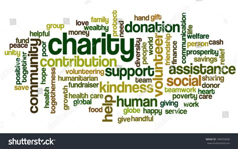 related words word cloud containing words related charity stock vector